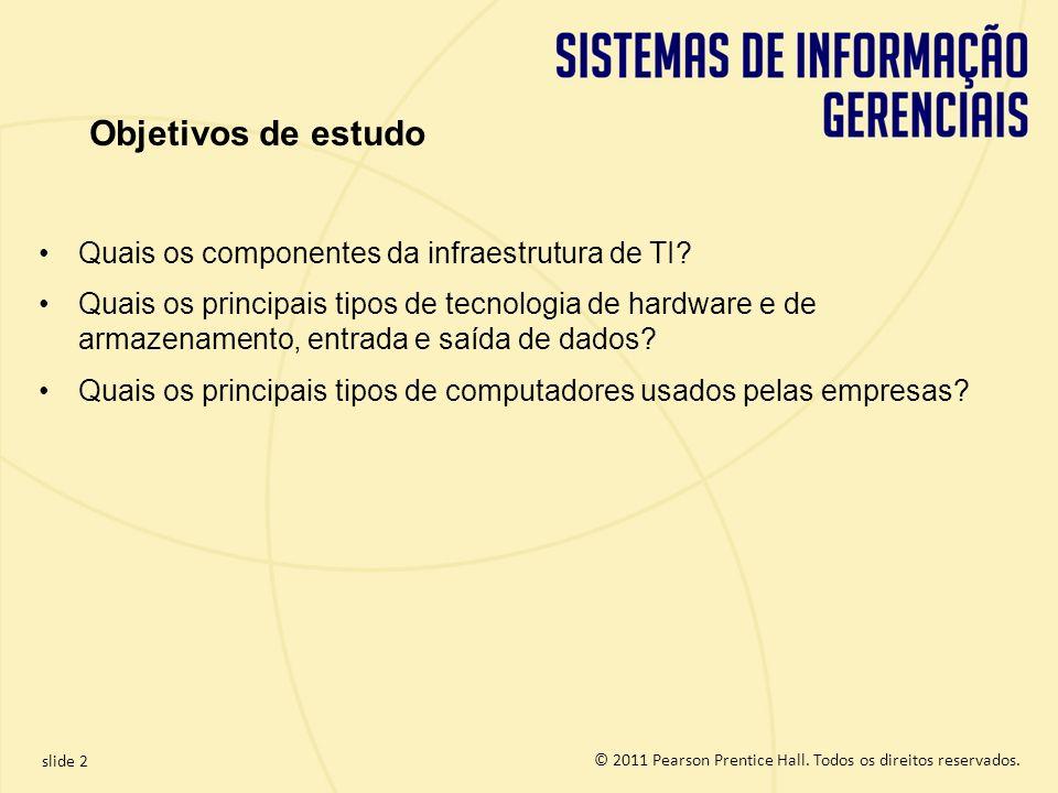 Objetivos de estudo Quais os componentes da infraestrutura de TI