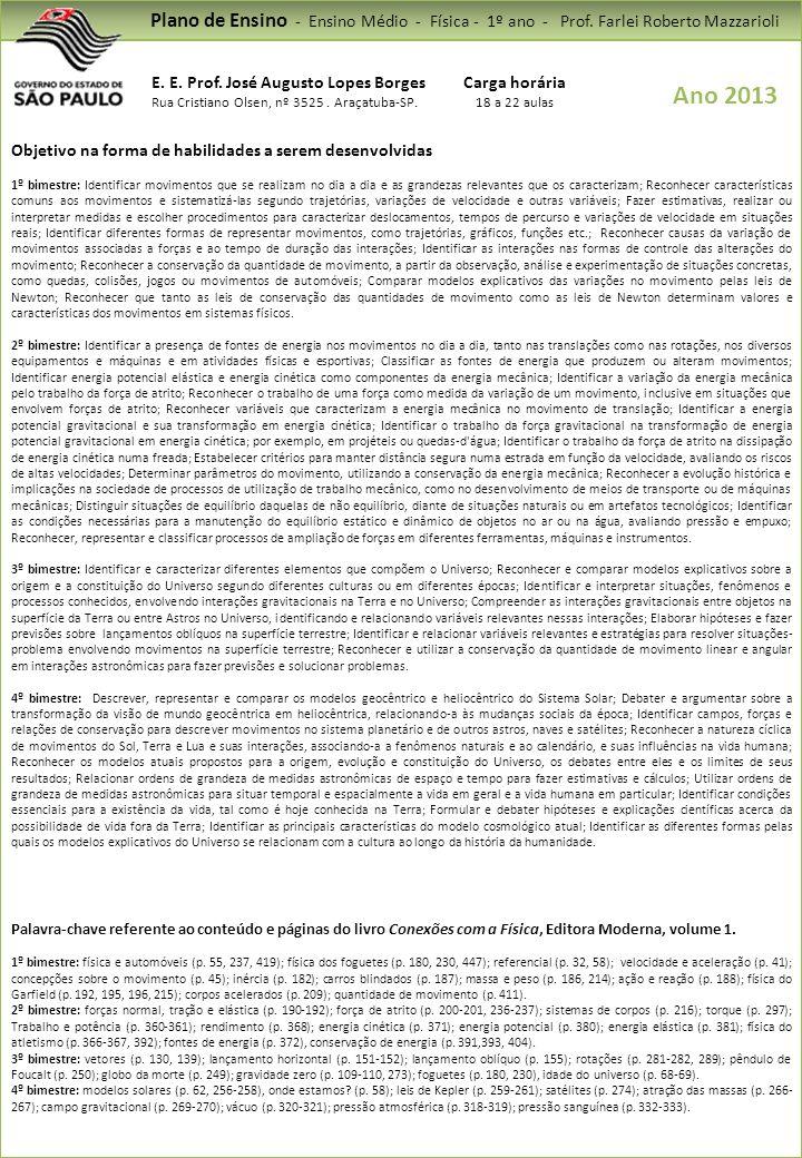 Plano de Ensino - Ensino Médio - Física - 1º ano - Prof