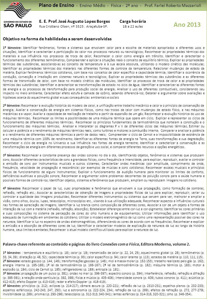 Plano de Ensino - Ensino Médio - Física - 2º ano - Prof
