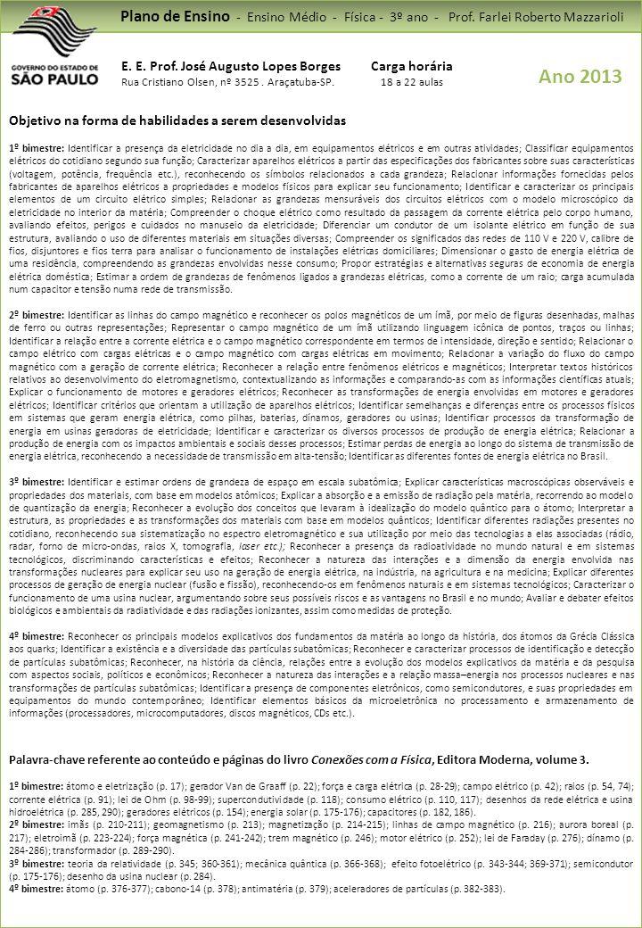 Plano de Ensino - Ensino Médio - Física - 3º ano - Prof