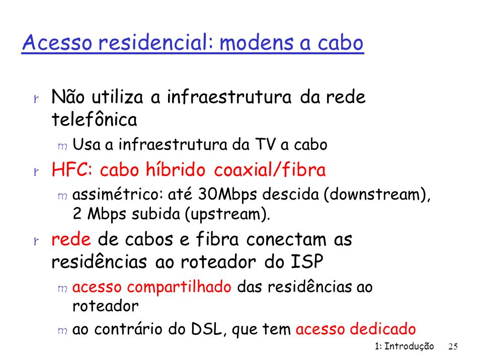 Acesso residencial: modens a cabo