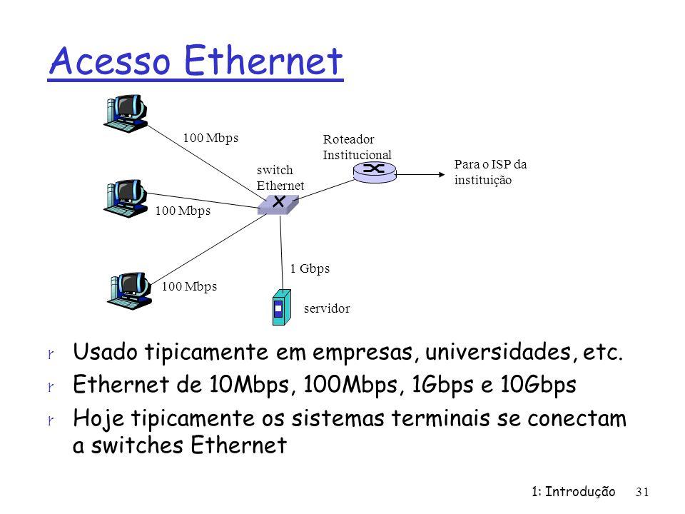 Acesso Ethernet Usado tipicamente em empresas, universidades, etc.