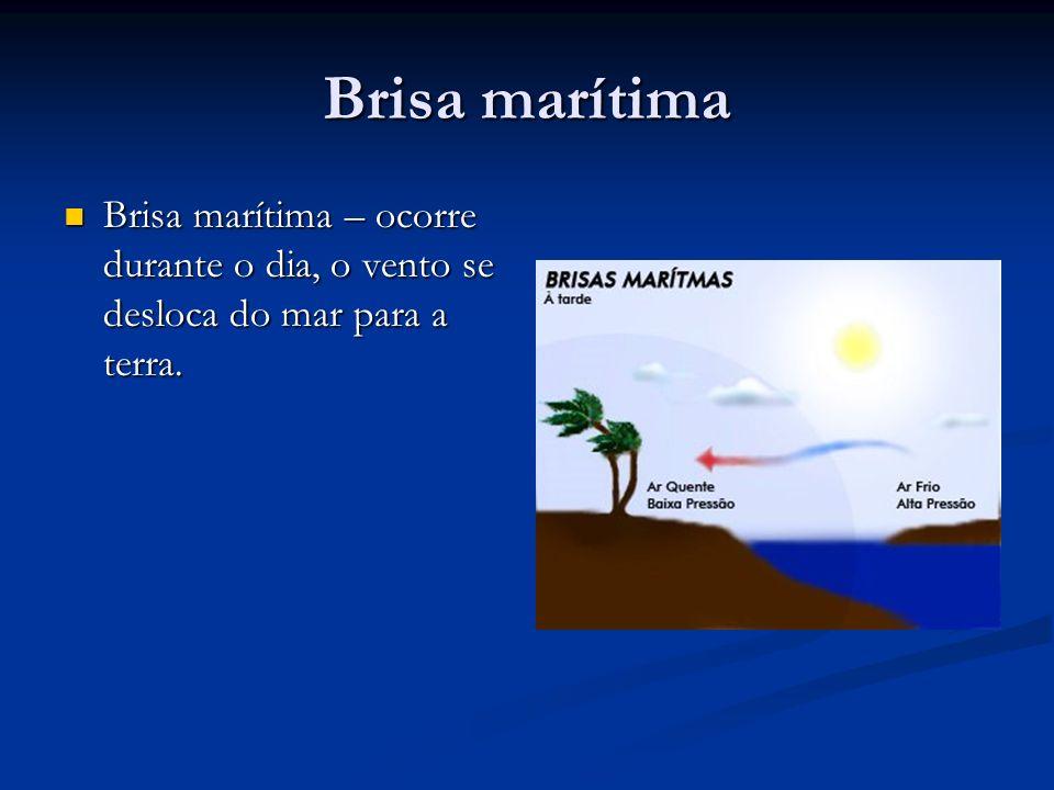 Brisa marítima Brisa marítima – ocorre durante o dia, o vento se desloca do mar para a terra.