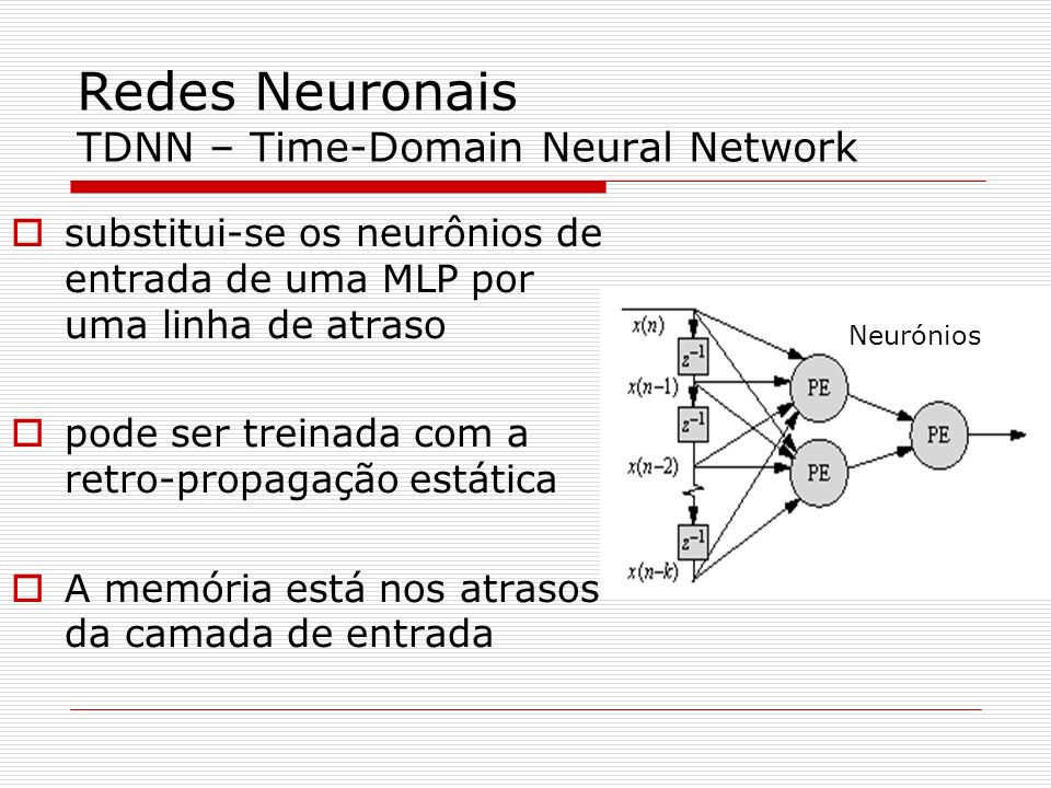 Redes Neuronais TDNN – Time-Domain Neural Network
