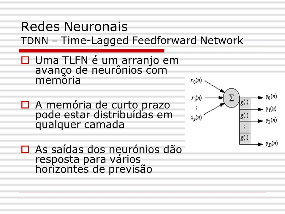 Redes Neuronais TDNN – Time-Lagged Feedforward Network