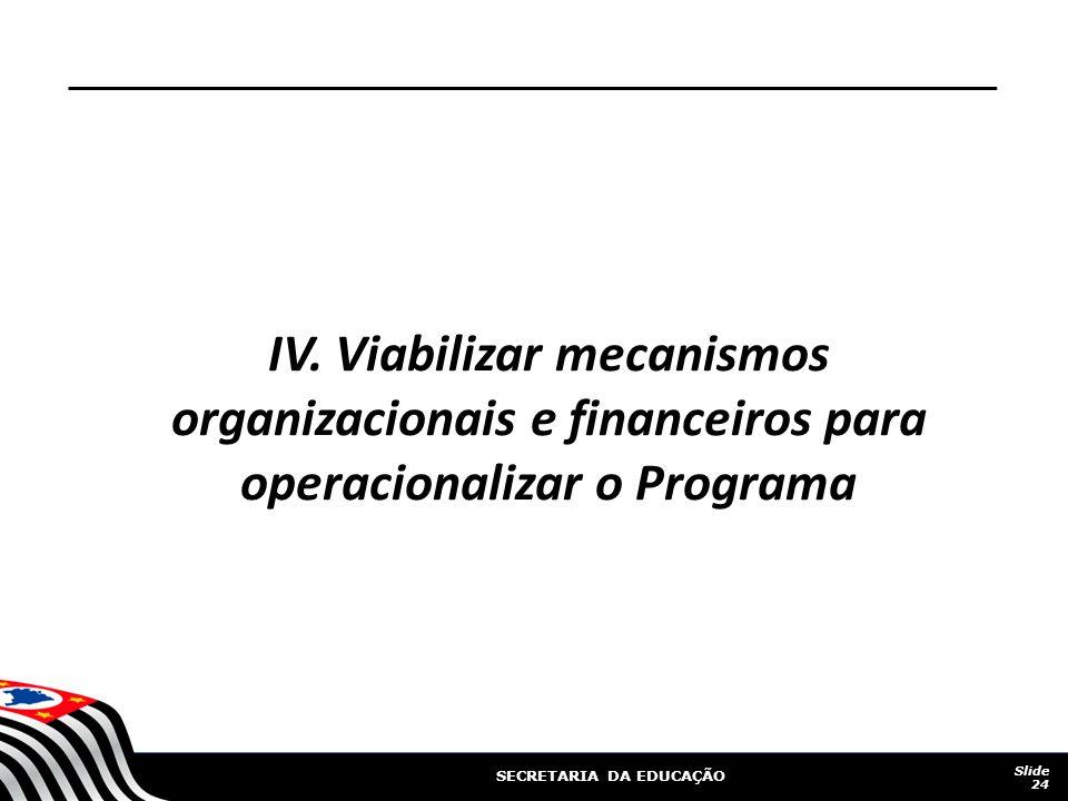 IV. Viabilizar mecanismos organizacionais e financeiros para operacionalizar o Programa