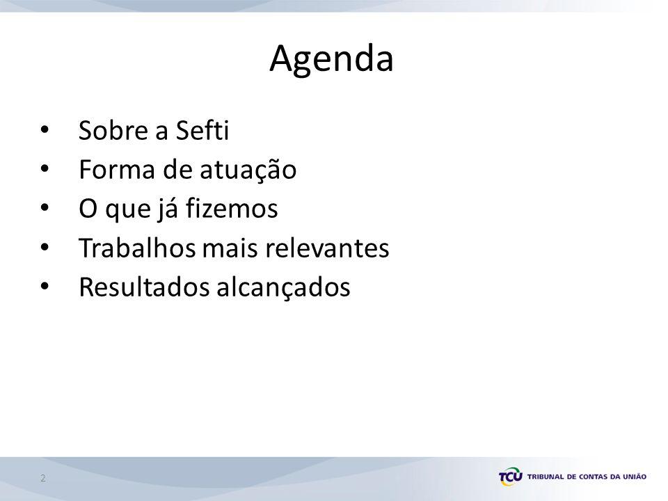 Agenda Sobre a Sefti Forma de atuação O que já fizemos