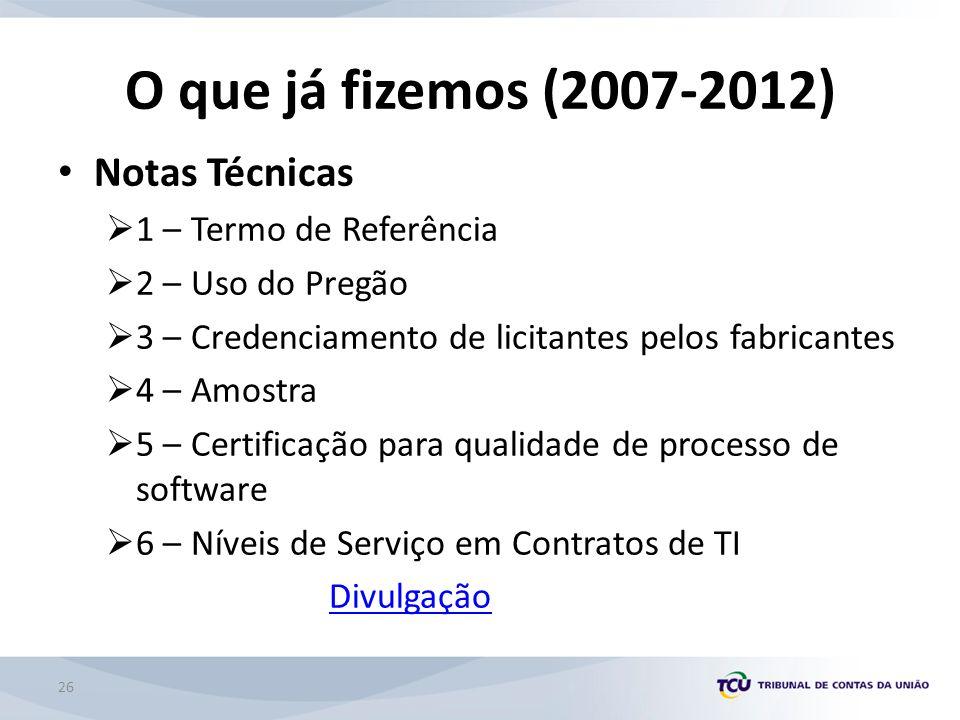 O que já fizemos (2007-2012) Notas Técnicas 1 – Termo de Referência