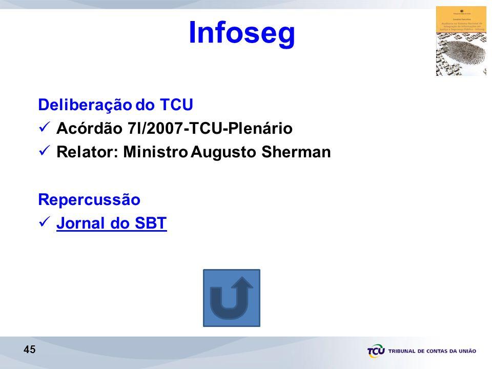 Infoseg Deliberação do TCU Acórdão 7l/2007-TCU-Plenário