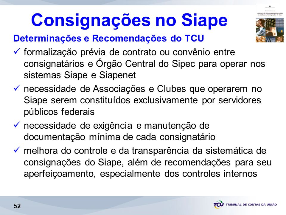 Consignações no Siape Determinações e Recomendações do TCU