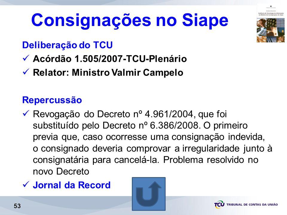 Consignações no Siape Deliberação do TCU
