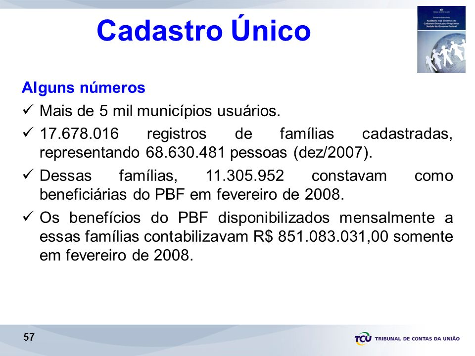 Cadastro Único Alguns números Mais de 5 mil municípios usuários.