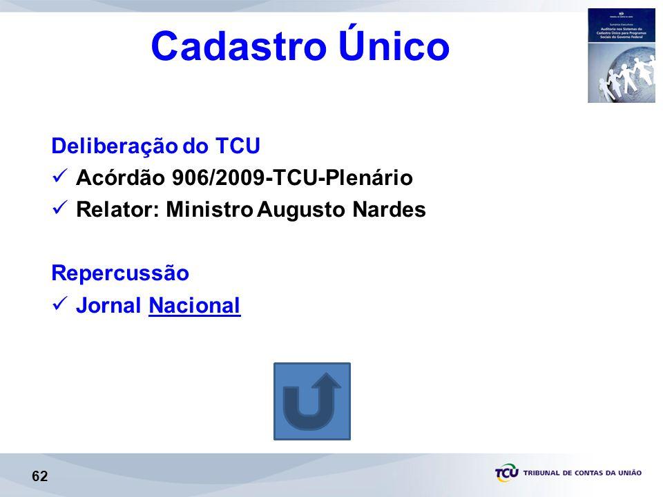 Cadastro Único Deliberação do TCU Acórdão 906/2009-TCU-Plenário