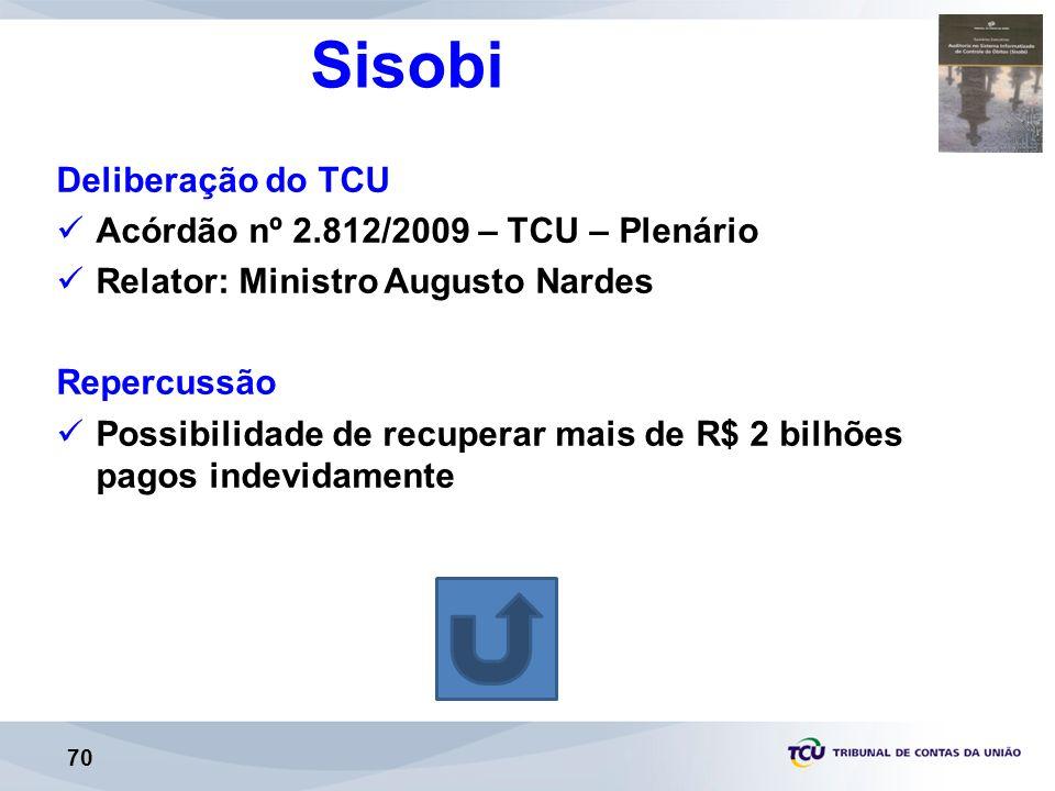 Sisobi Deliberação do TCU Acórdão nº 2.812/2009 – TCU – Plenário