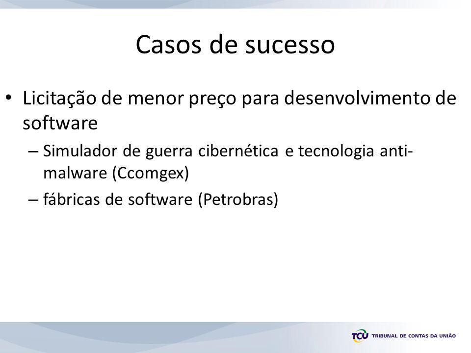 Casos de sucesso Licitação de menor preço para desenvolvimento de software. Simulador de guerra cibernética e tecnologia anti-malware (Ccomgex)