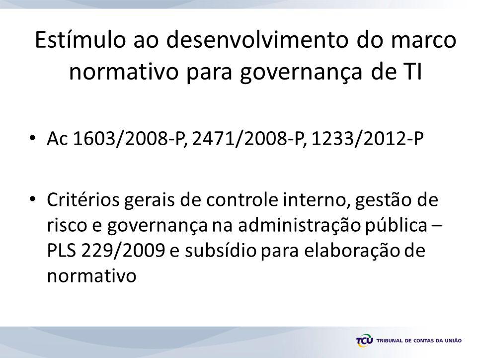 Estímulo ao desenvolvimento do marco normativo para governança de TI
