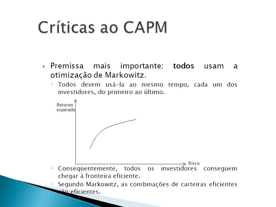 Críticas ao CAPM Premissa mais importante: todos usam a otimização de Markowitz.