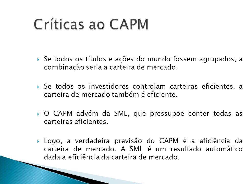 Críticas ao CAPM Se todos os títulos e ações do mundo fossem agrupados, a combinação seria a carteira de mercado.
