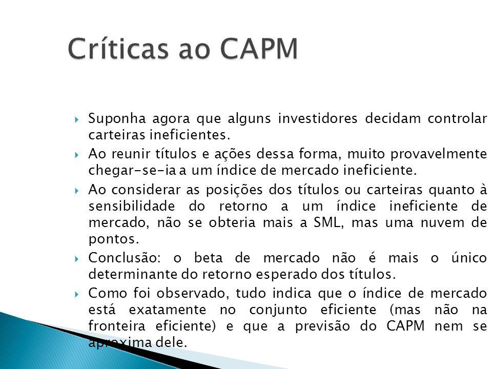 Críticas ao CAPM Suponha agora que alguns investidores decidam controlar carteiras ineficientes.