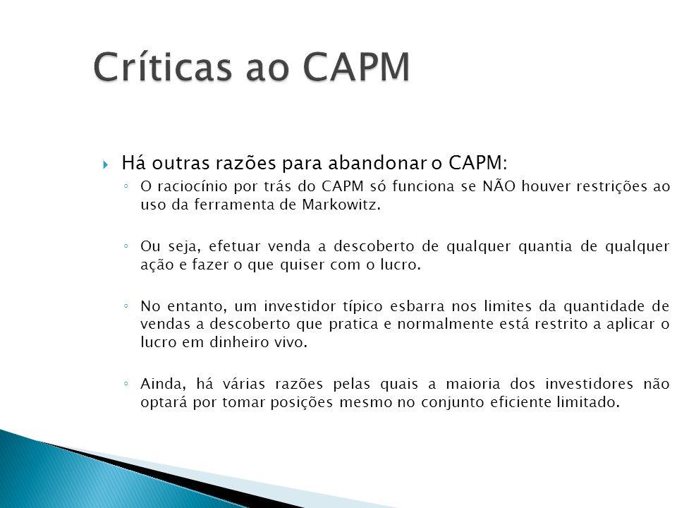 Críticas ao CAPM Há outras razões para abandonar o CAPM: