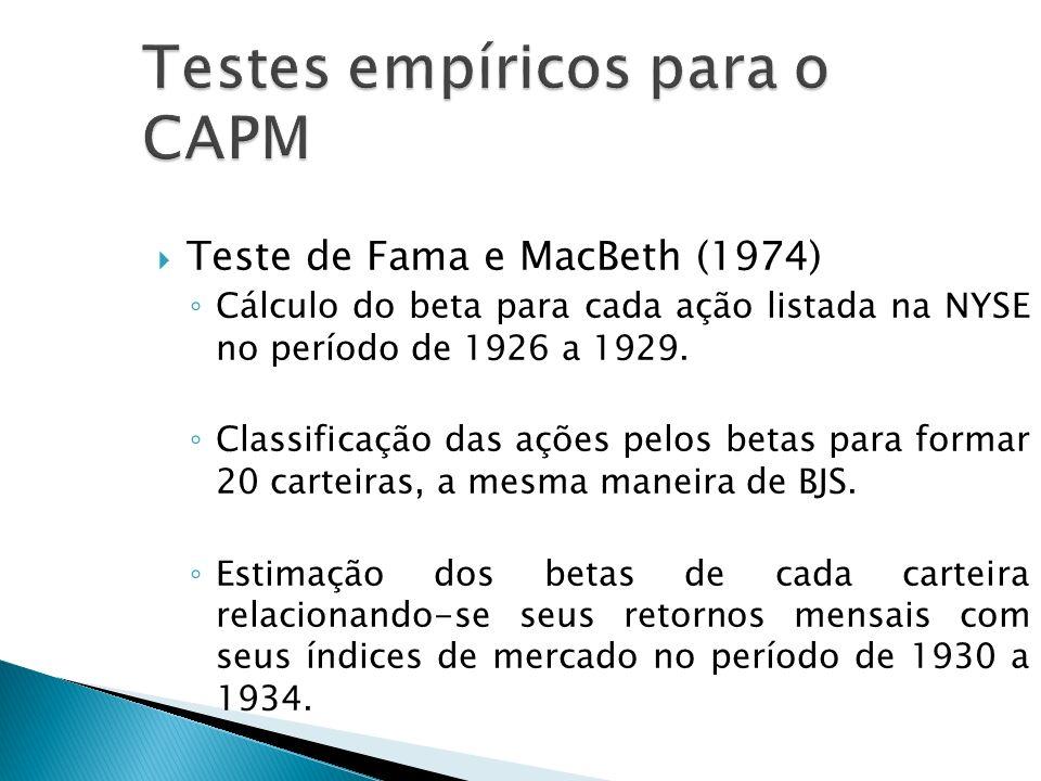 Testes empíricos para o CAPM