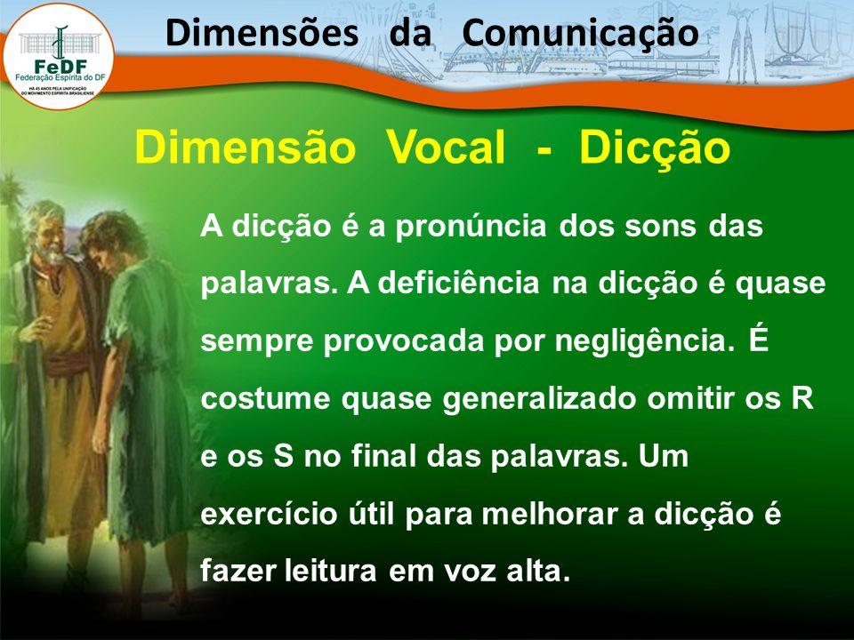 Dimensões da Comunicação Dimensão Vocal - Dicção