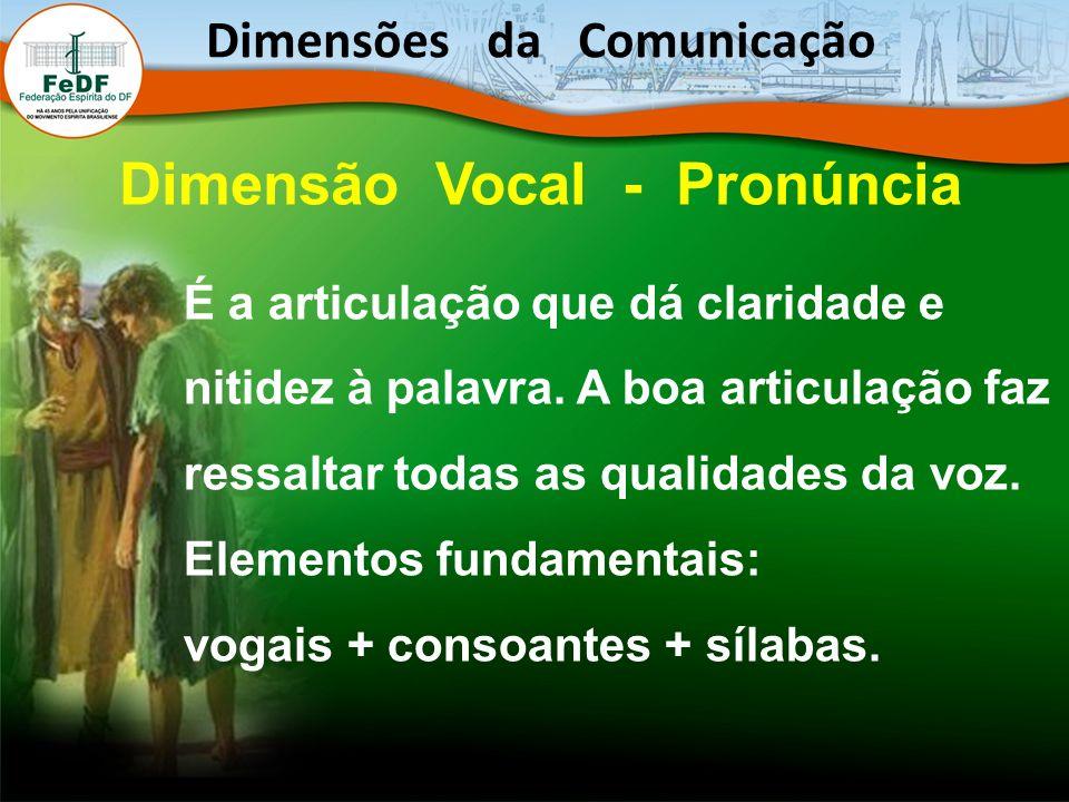 Dimensões da Comunicação Dimensão Vocal - Pronúncia