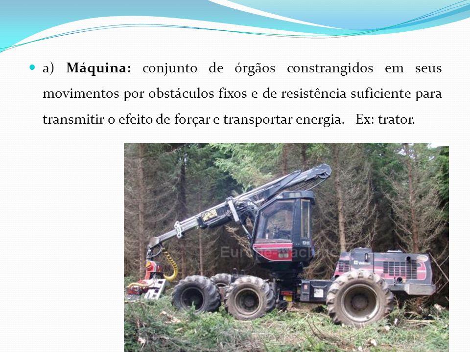 a) Máquina: conjunto de órgãos constrangidos em seus movimentos por obstáculos fixos e de resistência suficiente para transmitir o efeito de forçar e transportar energia.