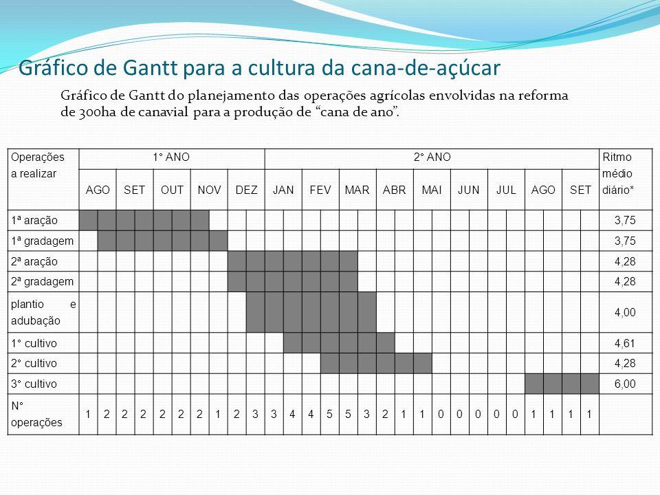 Gráfico de Gantt para a cultura da cana-de-açúcar