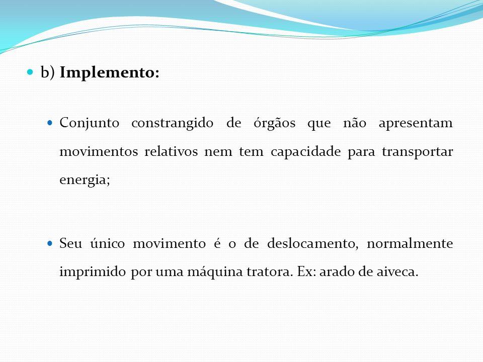 b) Implemento: Conjunto constrangido de órgãos que não apresentam movimentos relativos nem tem capacidade para transportar energia;