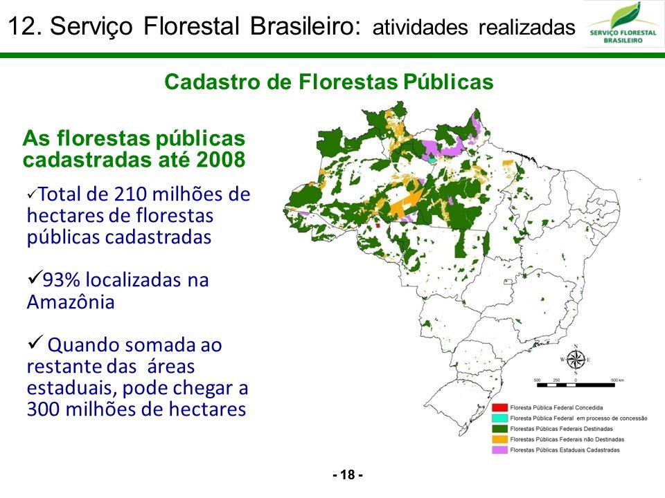 12. Serviço Florestal Brasileiro: atividades realizadas