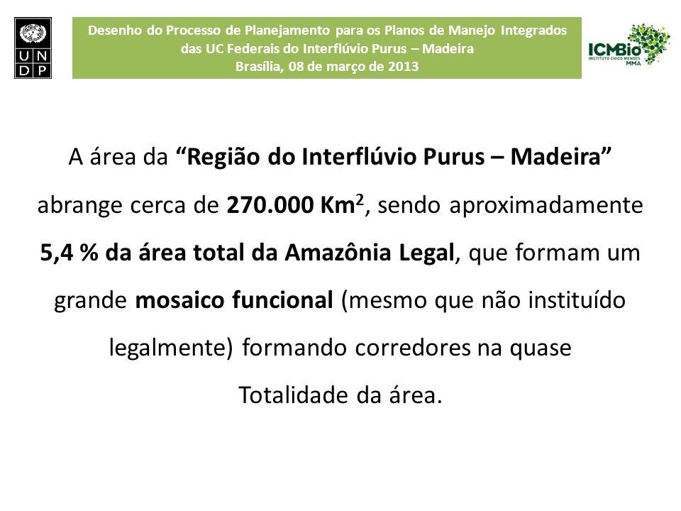 A área da Região do Interflúvio Purus – Madeira abrange cerca de 270