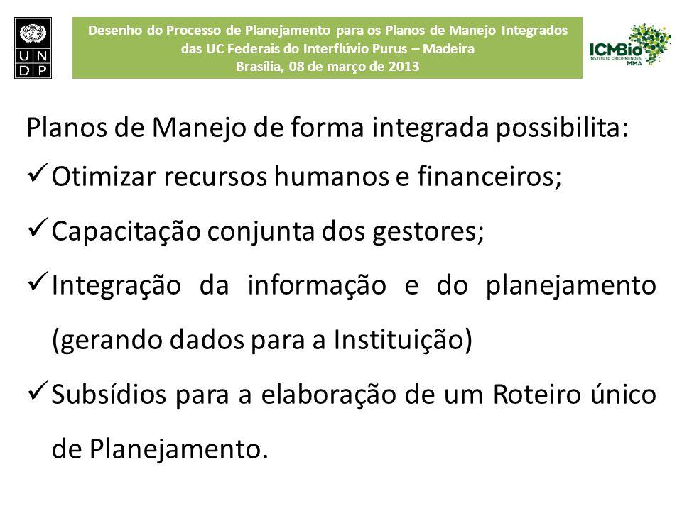 Planos de Manejo de forma integrada possibilita: