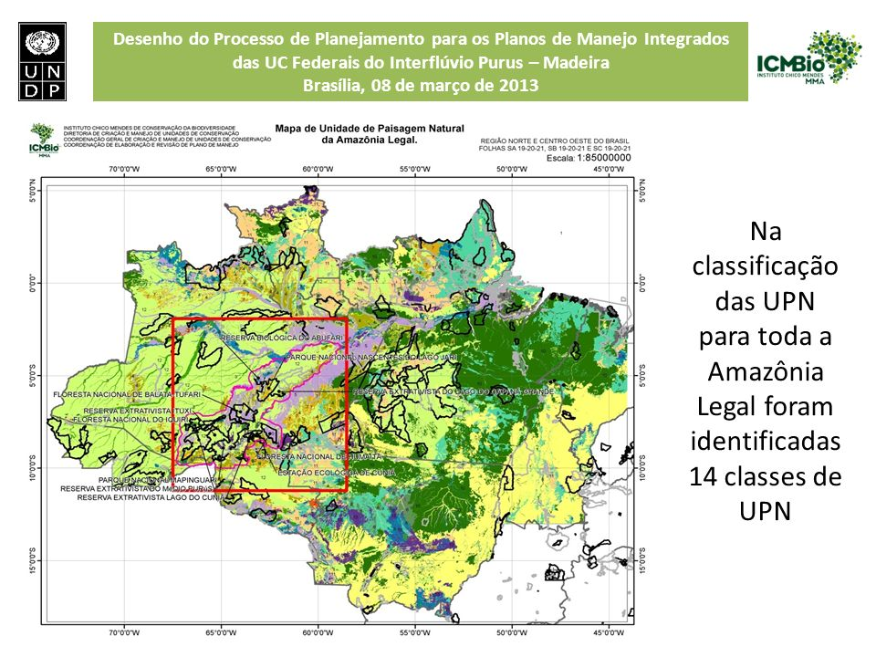 Na classificação das UPN para toda a Amazônia Legal foram identificadas 14 classes de UPN