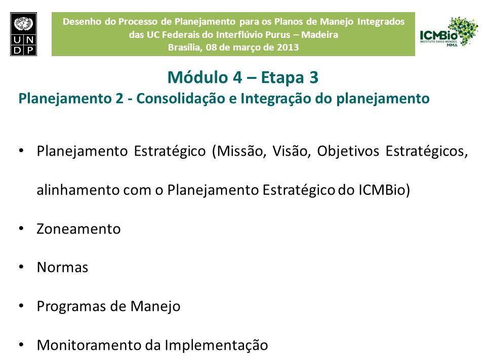 Módulo 4 – Etapa 3 Planejamento 2 - Consolidação e Integração do planejamento.