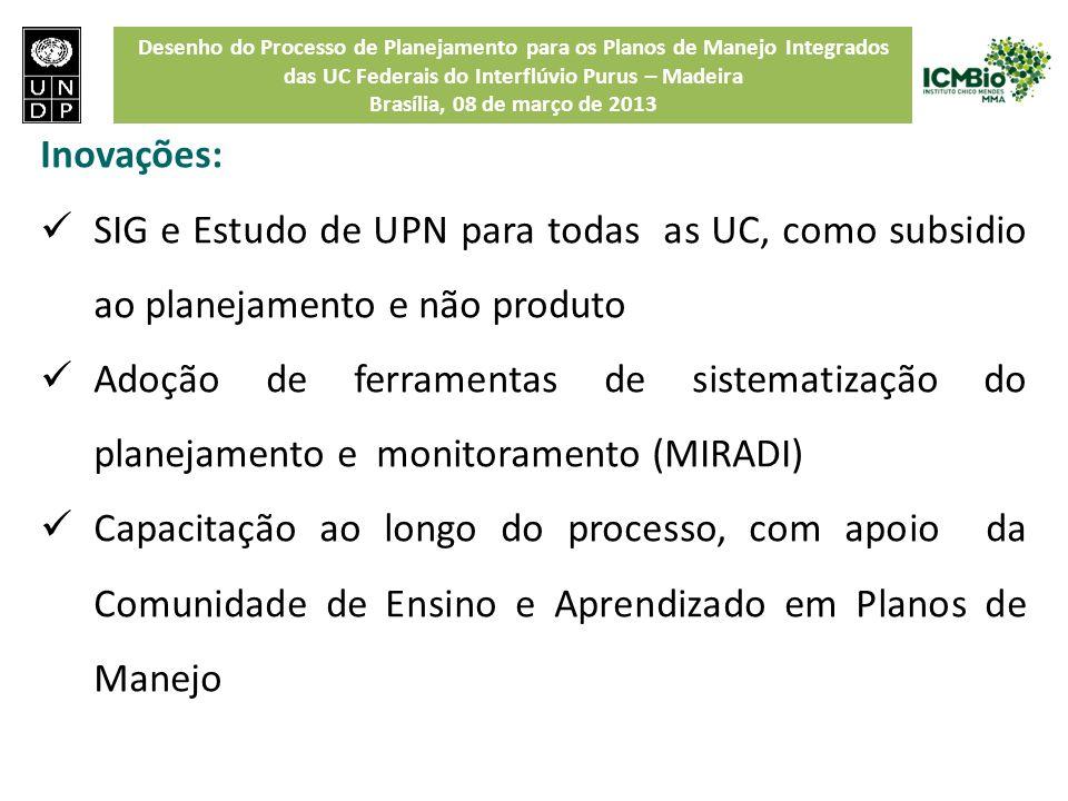 Inovações: SIG e Estudo de UPN para todas as UC, como subsidio ao planejamento e não produto.