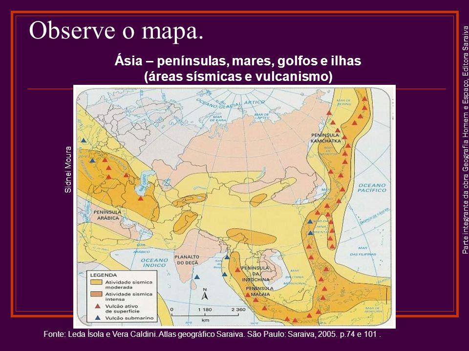Ásia – penínsulas, mares, golfos e ilhas (áreas sísmicas e vulcanismo)