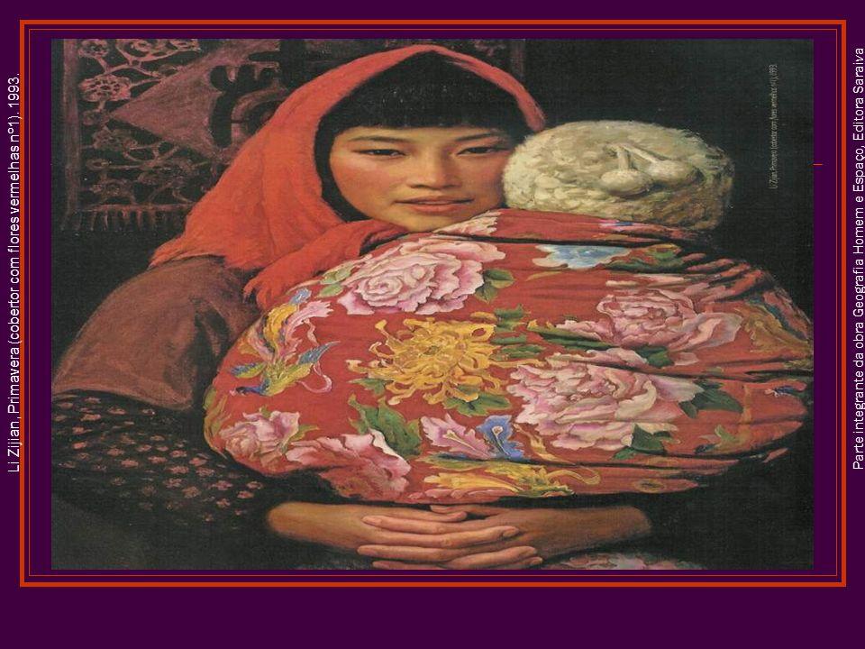 Li Zijian, Primavera (cobertor com flores vermelhas nº1). 1993.