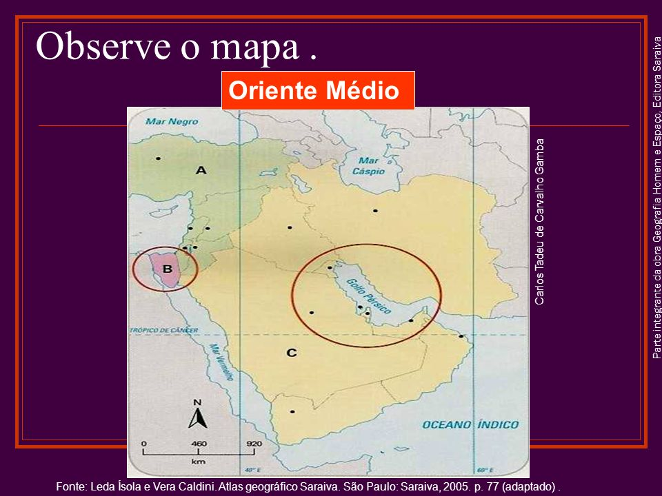 Observe o mapa . Oriente Médio