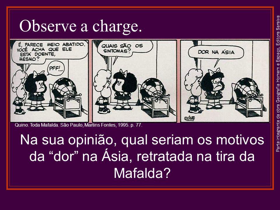 Observe a charge. Parte integrante da obra Geografia Homem e Espaço, Editora Saraiva. Quino. Toda Mafalda. São Paulo, Martins Fontes, 1995. p. 77.