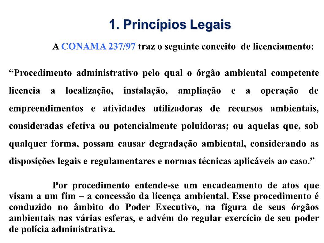 1. Princípios Legais A CONAMA 237/97 traz o seguinte conceito de licenciamento:
