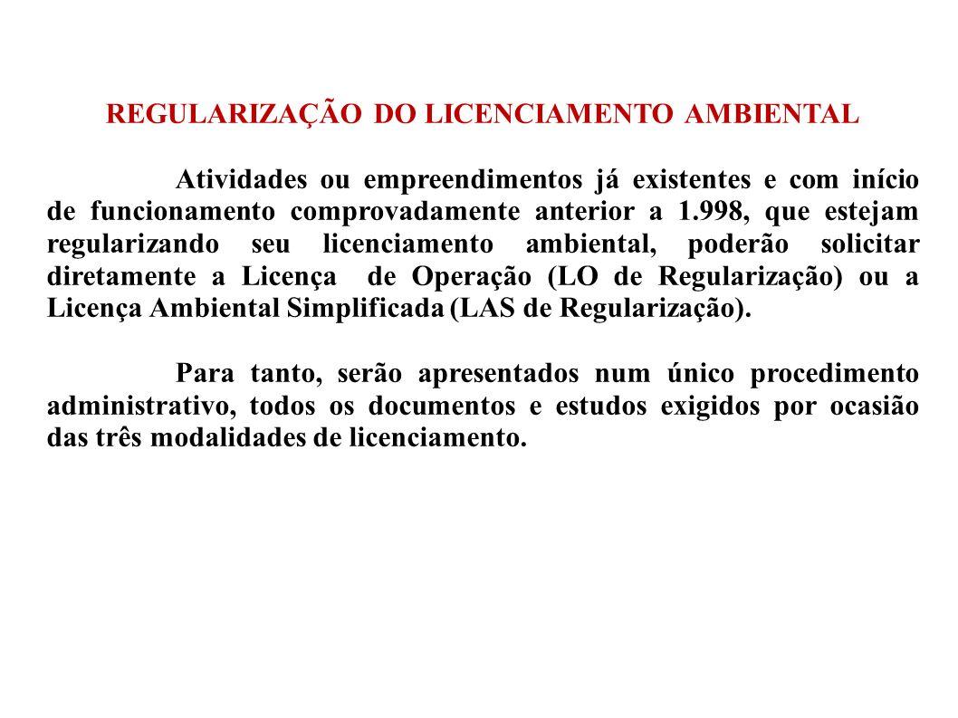 REGULARIZAÇÃO DO LICENCIAMENTO AMBIENTAL