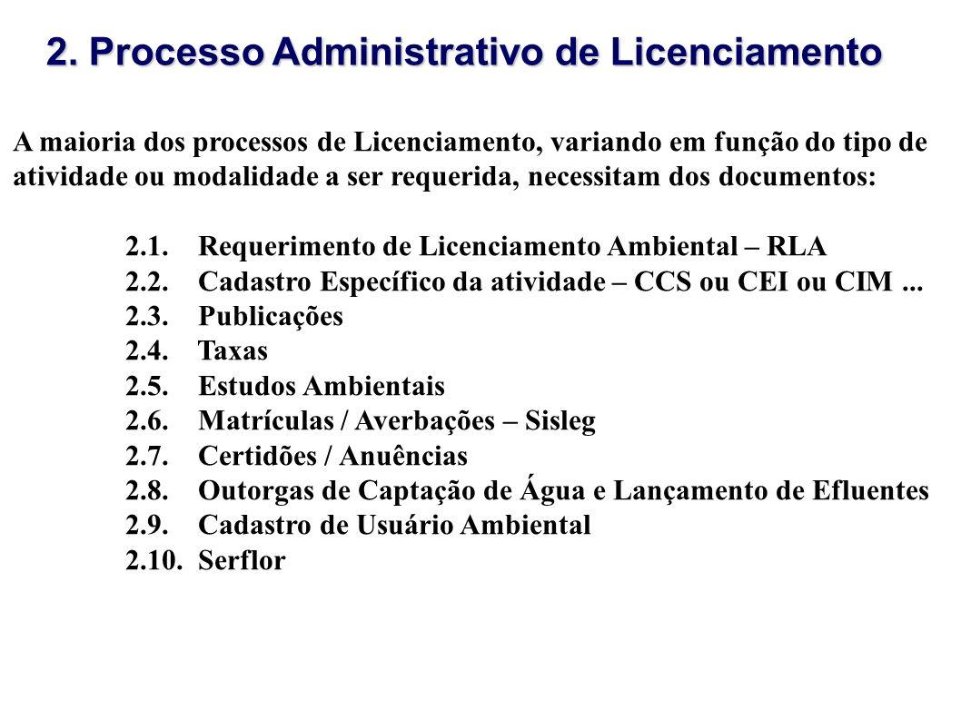 2. Processo Administrativo de Licenciamento