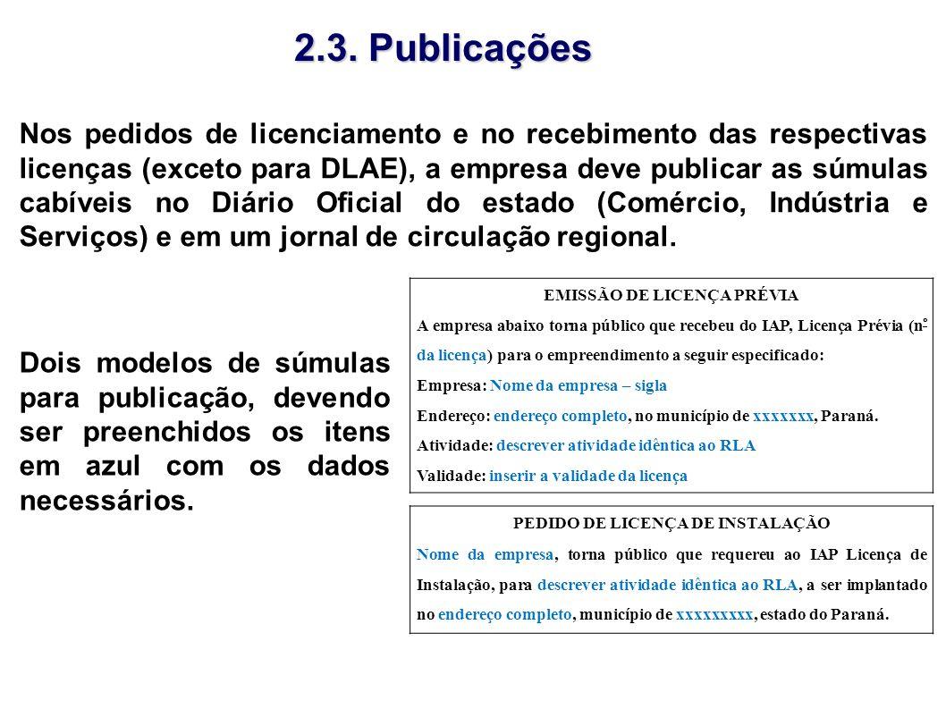 EMISSÃO DE LICENÇA PRÉVIA PEDIDO DE LICENÇA DE INSTALAÇÃO