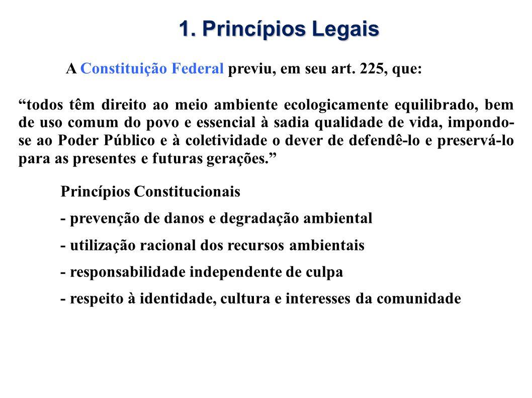 1. Princípios Legais A Constituição Federal previu, em seu art. 225, que: