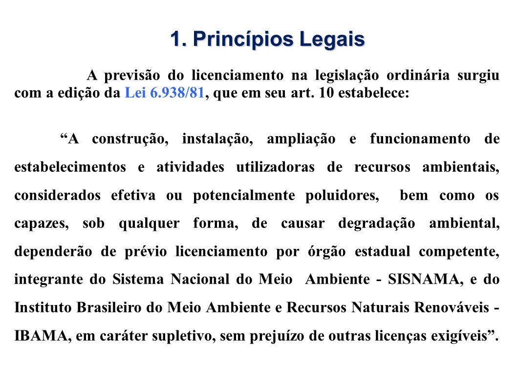 1. Princípios Legais A previsão do licenciamento na legislação ordinária surgiu com a edição da Lei 6.938/81, que em seu art. 10 estabelece: