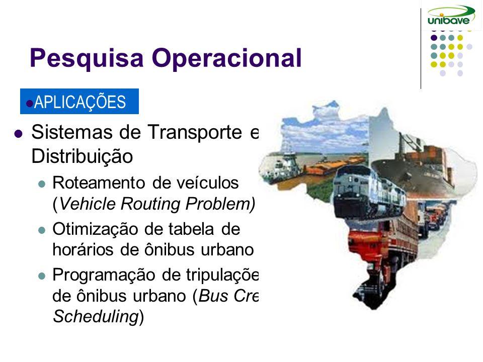 Pesquisa Operacional Sistemas de Transporte e Distribuição APLICAÇÕES