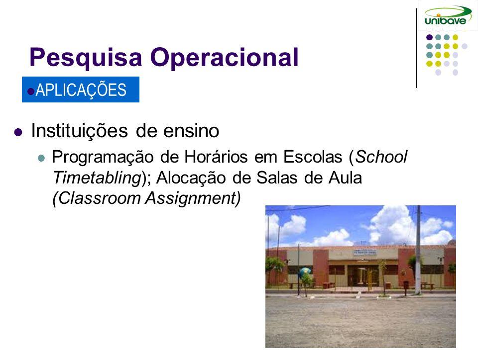 Pesquisa Operacional Instituições de ensino APLICAÇÕES