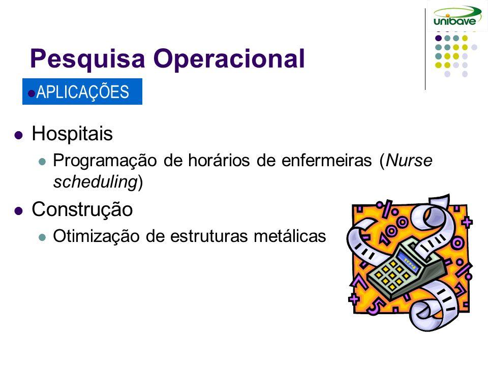 Pesquisa Operacional Hospitais Construção APLICAÇÕES