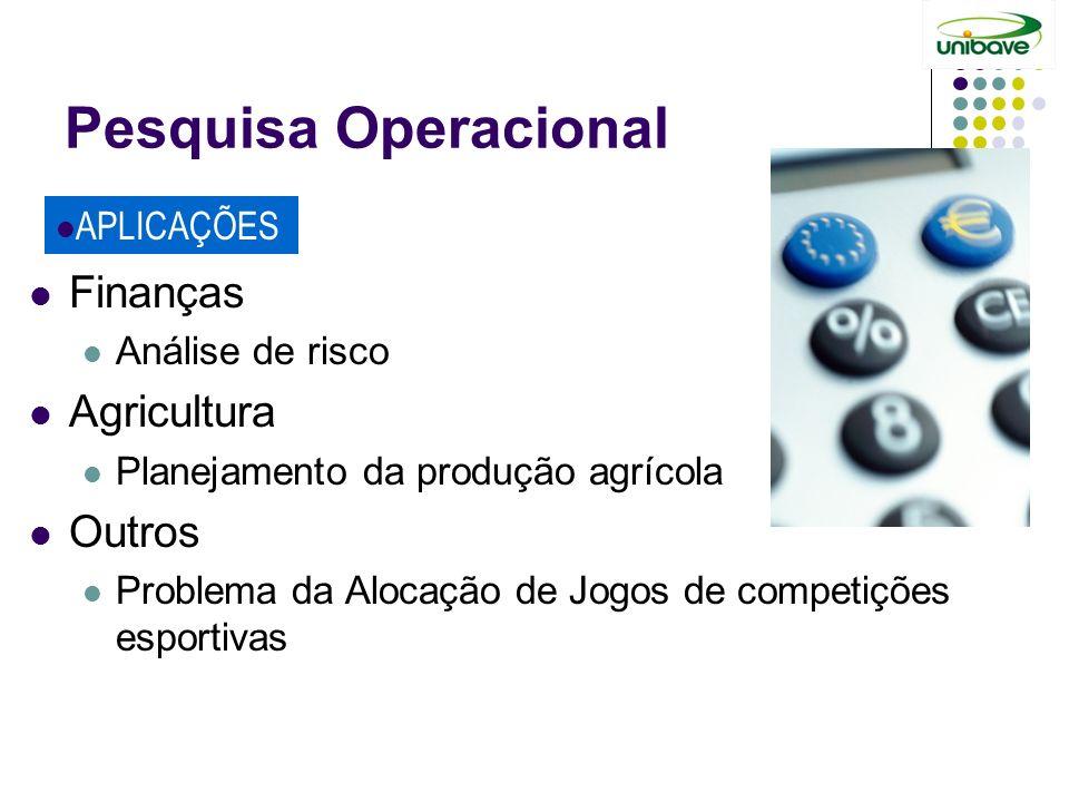 Pesquisa Operacional Finanças Agricultura Outros APLICAÇÕES